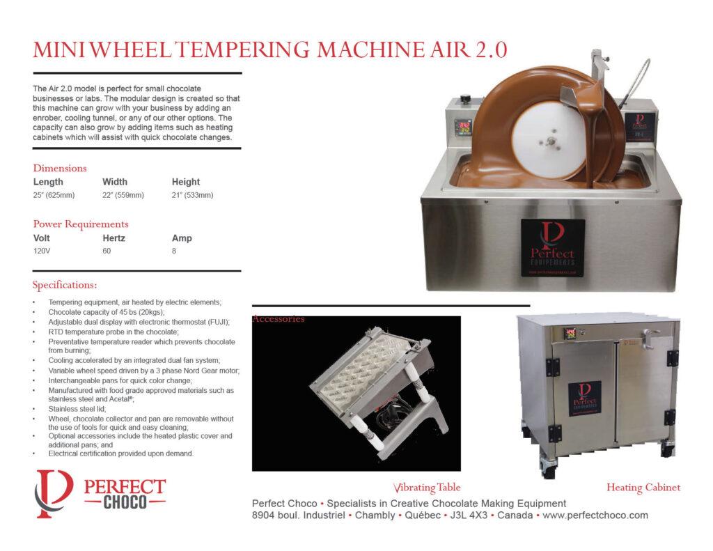 Perfect Choco Air 2.0 Mini Wheel Tempering Machine